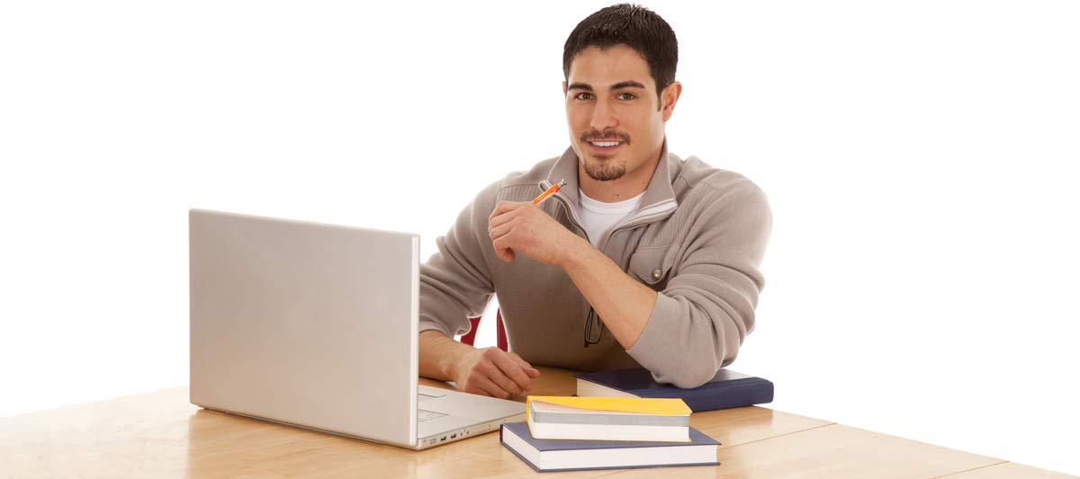 Guy with Books and Laptop